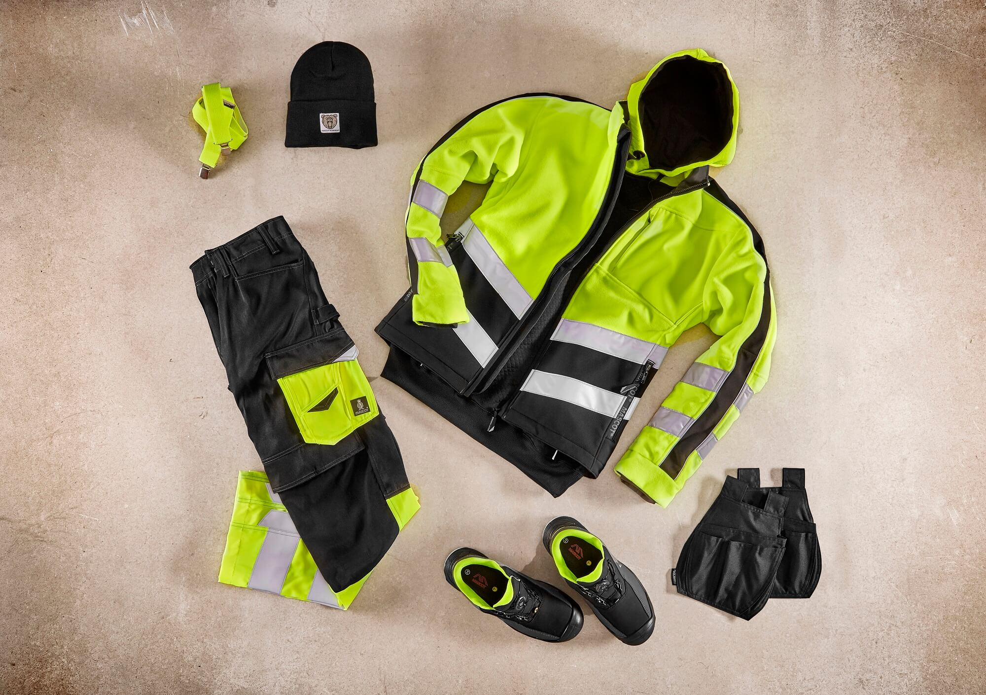 Collage - Veste polaire, Sweat capuche & Pantalon - Hi-vis jaune
